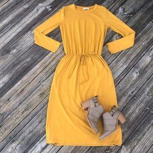 LAST ONE! REBORN J Midi Drawstring Dress Mustard